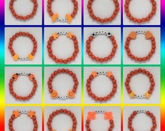 Personalised Orange Bracelet, Necklace, Bag Tag, Luggage tag, Handmade, gift, Children's jewellery, Birthday gift, Name, Friendship, Beaded