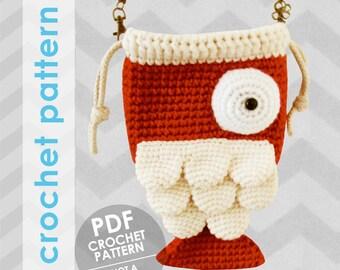crochet bag pattern - fish bag - crochet bag pattern - crochet purse pattern - fish purse - koi fish bag - crochet fish - animal purse