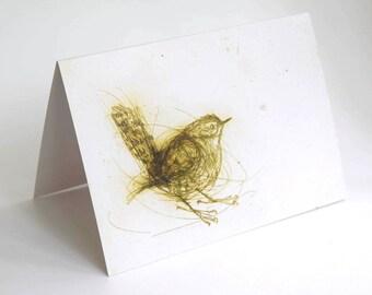 Card, Greeting Card, Art Card of Bird, Wren, jenny wren, bird art,