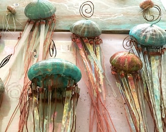 jellyfish light, jellyfish lamp,   accent lamp,  beachy light, accent light, jellyfish nightlight, wedding gift,  jellyfish sculpture,shell