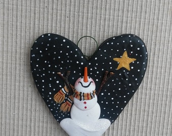 hand sculpted polymer clay Shining star snowman ornament