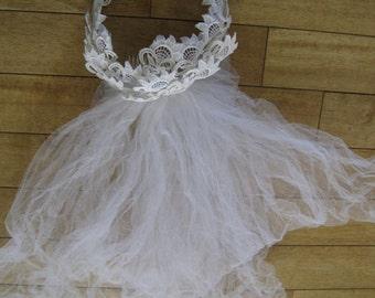 "Wedding Veil Vintage Tulle Comb 15"" White 183"