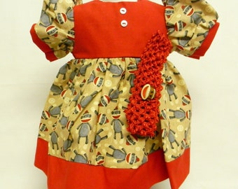 Sock Monkey Print Dress  For 18 Inch Doll Like The American Girl