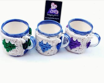 Mug cosy **Made to Order** drink cosy, mug sleeve, granny square, granny heart, gift for her, gift for him, mothers day gift