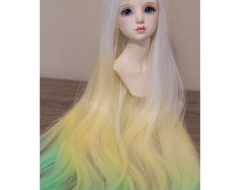 BJD handmade gradient/ ombre color straight long wig white yellow & green