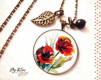Necklace Cabochon necklace • poppy flowers red white green black glass •