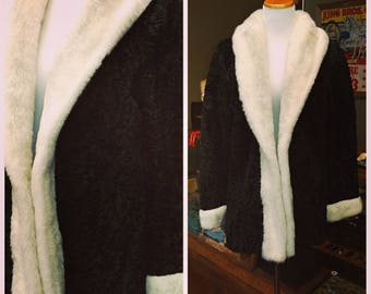 Clearance *** Vintage Faux Black Persian Lamb Coat with White Trim