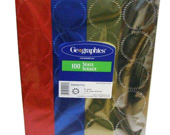 "Foil Seal Labels, Pack of 100 (25 Red, 25 blue, 25, Gold, 25 Silver), 2"" Dia."
