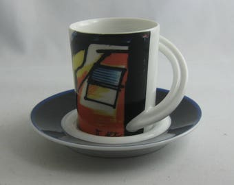 Cupola No. 7 - Otmar Alt. Espresso / mocha collection cup, 2 pieces. ROSENTHAL studio-line Germany. 20th MODERNIST Constructivism. VINTAGE