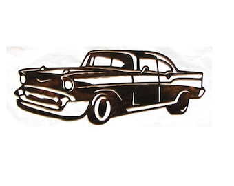 Metal 1957 Chevy Wall Art 57 Chevy Chevrolet Metal Art Patina Plated 14  Gauge Steel Mancave