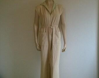70s Vintage Jumpsuit Sleeveless Pantsuit Hooded Festival Playsuit studio 54 suit