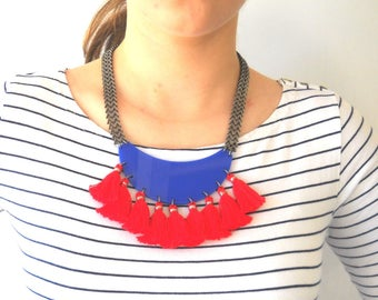 Red Tassel Necklace, Fringe Statement Necklace, Red and Blue Necklace Plexiglass Trendy jewelry, Fan Necklace