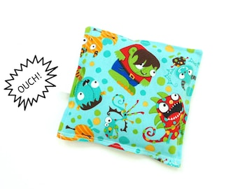 Boo boo bag, rice pack, monsters, freezer pack, ouch pouch, cold compress, baby shower gift under 10, kids first aid, boo boo buddy