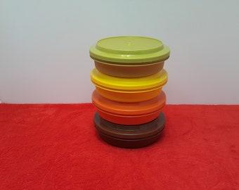 vintage tupperware bowl set / tupperware  seal n serve / green, orange, brown and yellow bowls, tupperware  #1206 with seals, set of 4