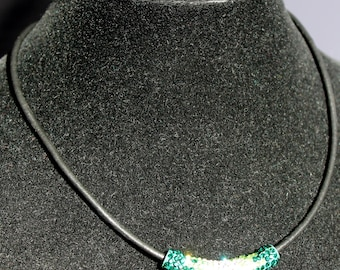 Green Crystal Leather Choker Style Necklace