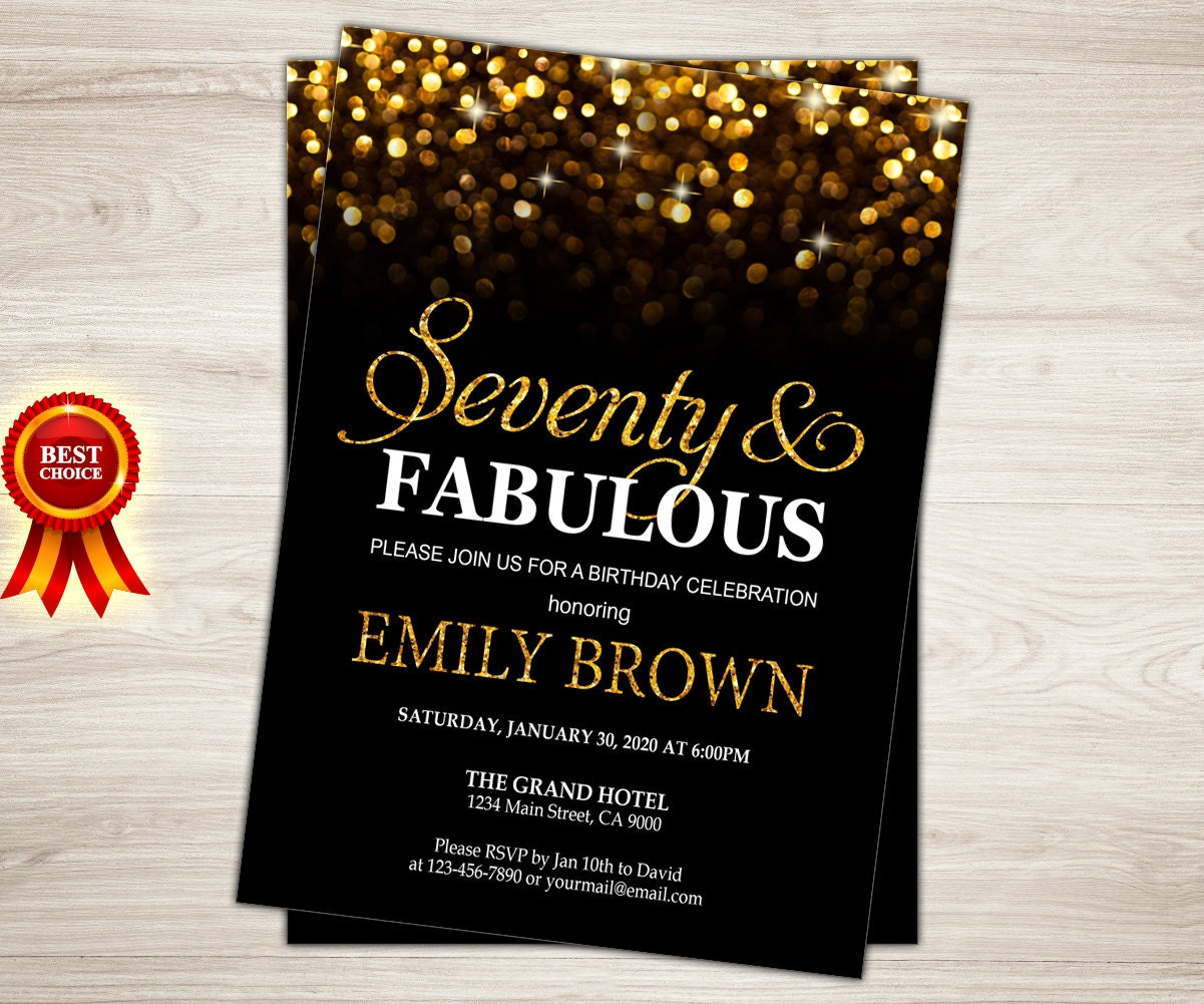 70th birthday invitation for women 70 and fabulous golden zoom filmwisefo Choice Image