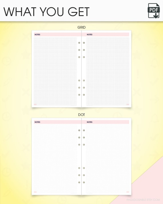 Notes kit half size printable planner inserts grid notes