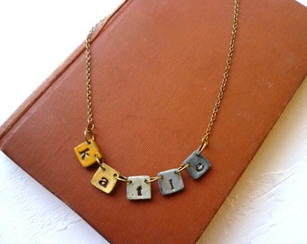 Fiesta Necklace - Name necklace on little tiles - Concrete