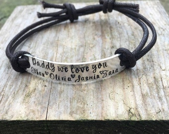 Personalised daddy leather bracelet