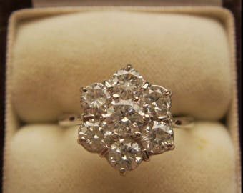 18ct 1.50ct Diamond 7 Stone Cluster Ring