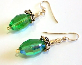 Green Faceted Crystal Earrings, Green and Gold Dangle Earrings, St Patricks Day Bead Jewelry, May Birthday Gift, Elegant Christmas Earrings