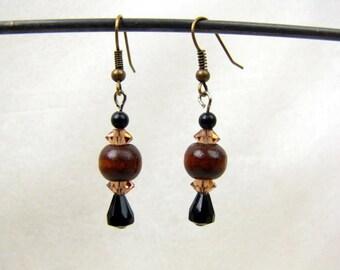 Beaded Dangle Earrings~ Wood Beads ~ Black Faceted Beads ~ Amber Tone Faceted Beads ~ Handcrafted ~ Victorian ~ Pierced ~