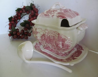 Red Transferware Tureen with Ladle Red Transferware Castle Decor Red White Kitchen Decor Red Transfer ware Castle Lg Soup Tureen Centerpiece