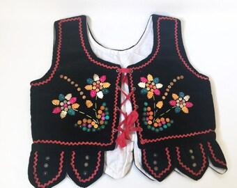 Vintage Handmade Ukrainian Polish Sequence Sequin beaded Dance Costume Vest 1940-50's