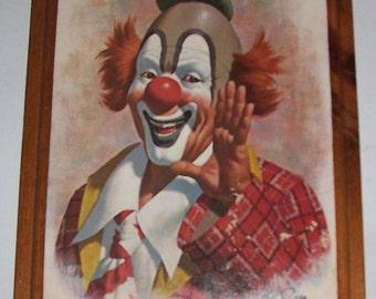 1979 Arthur Sarnoff Ringo The Clown Litho Print on Wood Wall Board