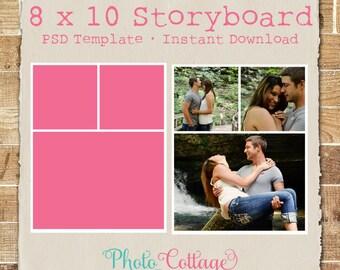 Plantilla de Storyboard de fotografía 8 x 10, plantilla de fotografía, fotógrafo Blog plantillas, plantilla de Blog Junta, Collage Digital