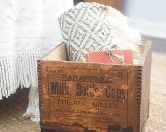 Vintage wooden crate storage box, burlap lined storage basket, antique milk bottle caps crate, upcycled furniture