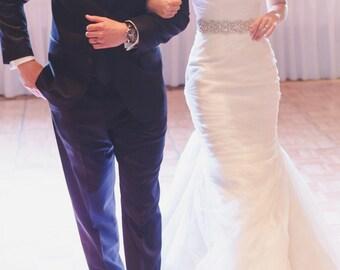 "Pearl and Rhinestone ""Peek a Boo"" Bridal Sash - Wedding Dress Belt"