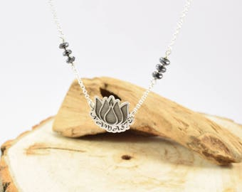 Lotus Flower Necklace, Mindfulness Gift, Silver Lotus Necklace, Lotus Necklace, Water Lily Namaste Necklace, ISolid Sterling Silver Necklace