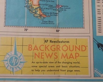 1963 Vintage AP World Wall Background News Map, Lithograph, Space Age Chronology, Population, New Independent Countries, Vintage World Map