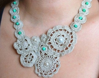 Medium Sand Lust with Green Howlite Stones Crochet Necklace