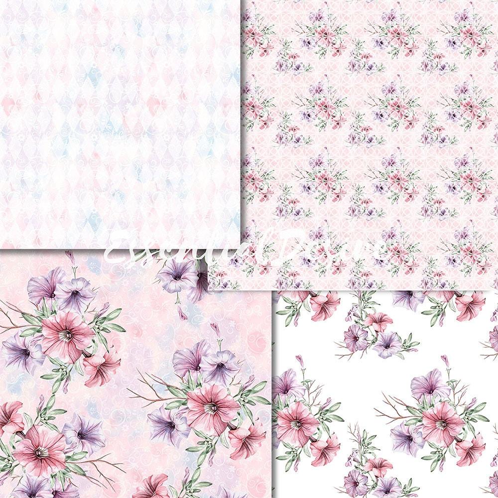 Floral Wallpaper Petunias Watercolor Handpainted Paper Seamless