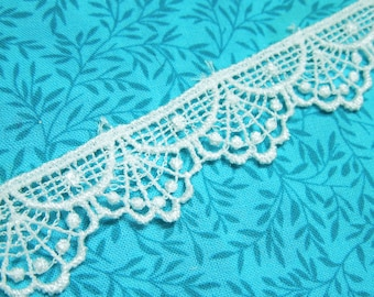 White Venise lace, 1 yard of 7/8 inch White venise lace trim for wedding, bridal, jewelry, couture by MarlenesAttic - Item ZX