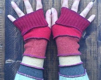 Fingerless Gloves  Made from Recycled Sweaters - Eco Friendly Accessories - by Playful Chameleon