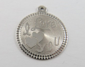 I Love You Sterling Silver Charm or Pendant.