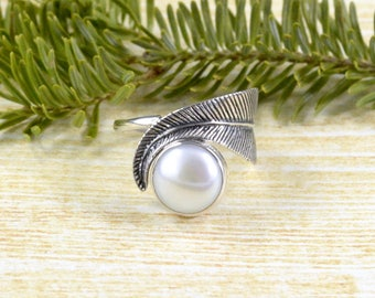 Feather & Pearl Ring // Pearl Jewelry // Sterling Silver // Village Silversmith