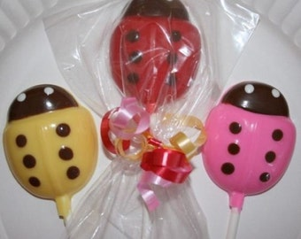 20 Chocolate LADYBUG Lollipop Party Favors