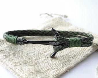 Anker schwarz / schwarz Titan SurvivorCord nautischen Armband
