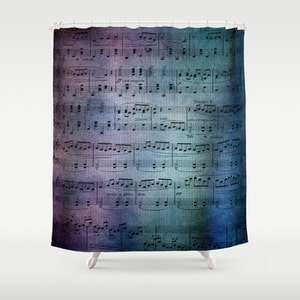 Sheet Music Shower Curtain   Blue And Purple Sheet Music Fabric Curtain  Music Vintage Blue Purple