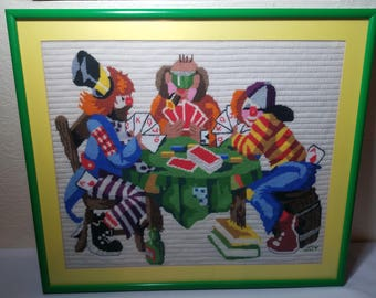 Rodeo Clowns playing poker completed cross stitch 23 x 20