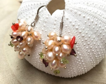 Freshwater Robins and gemstone cluster earrings