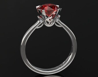 Ruby Engagement Ring 1.50 Carat Ruby And Diamond Ring In 14k or 18k White Gold. Matching Wedding Band Available W17RUBYW