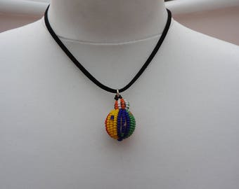 Black suede red orange green yellow white blue prom pendant necklace