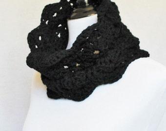 Black Crochet Scarf, Lacy Crochet Cowl, Scalloped Neck Warmer, Black Infinity Scarf, Collar