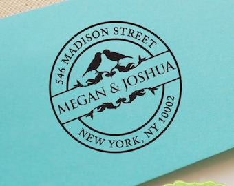 CUSTOM ADDRESS STAMP, personalized pre inked address stamp, pre inked custom address stamp, return address stamp with proof CircleLovebirds1