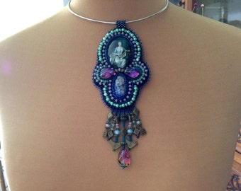 breastplate pendant necklace embroidered cabochons and beads